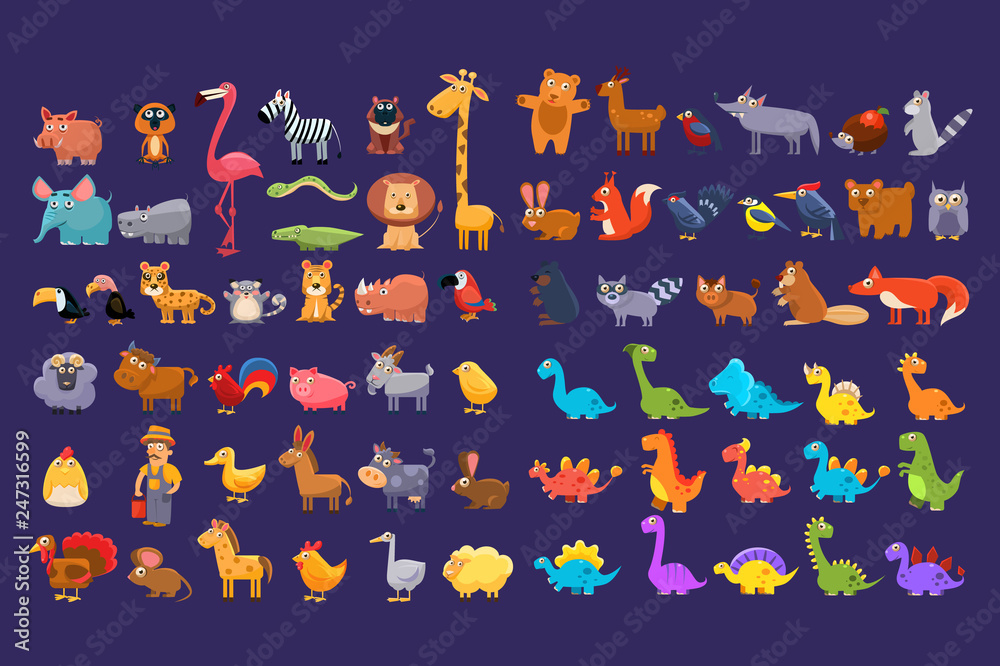 Fototapety, obrazy: Cartoon collection of funny animals. Colorful elements for children s book, education card, mobile game or sticker. Wildlife concept. Flat vector design