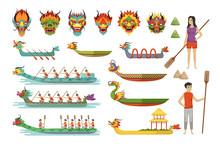 Dragon Boats Set, Team Of Male...