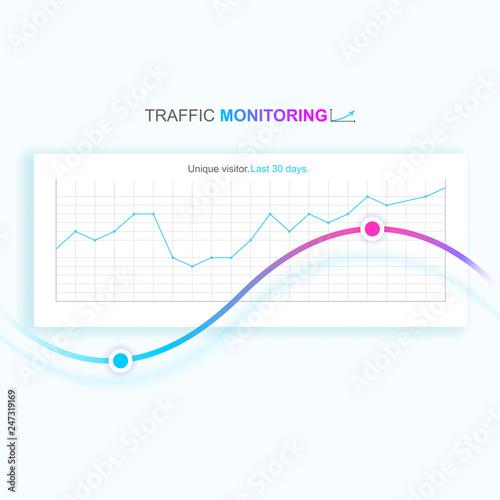 Photo  Website graph shows unique visitors