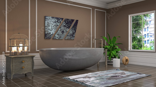 Foto auf AluDibond Boho-Stil Bathroom interior. 3D illustration