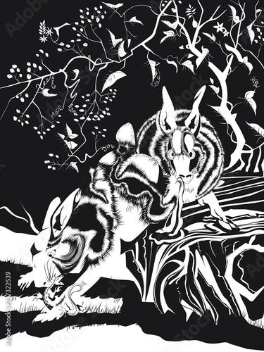 Foto Deux lapins chasseurs en noir et blanc