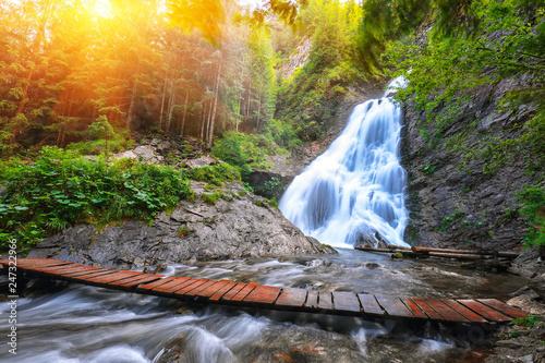 Foto auf AluDibond Wasserfalle View of Bride's Veil / Valul Miresei Waterfall.