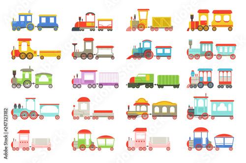 Fotografía  Toy trains set, colorful locomotives and wagons vector Illustrations