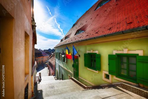 Foto op Plexiglas Historisch geb. Historical old buildings in the medieval city Sibiu- Hermannstadt