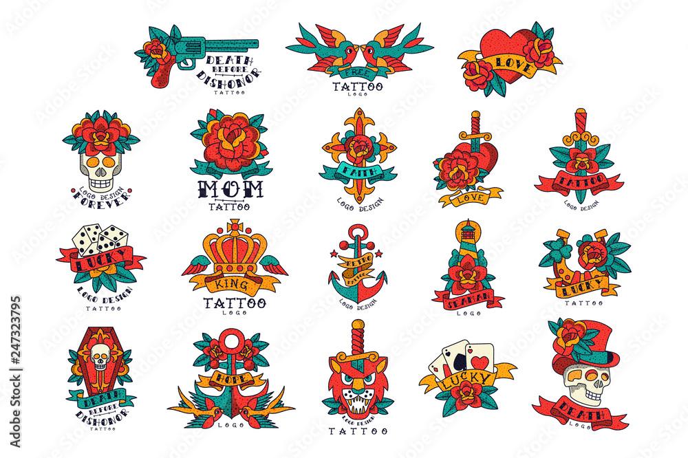 Fototapeta Colorfull tattoos in vintage style set of vector Illustrations