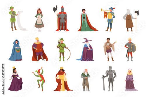 Canvas Print Medieval people characters set, European middle ages historic period elements ve