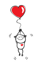 Love.  Funny Little Man Flying On A Balloon In The Shape Of A Heart, Vector Illustration.