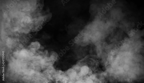 Photo Stands Smoke Abstract smoke misty fog on isolated black background. Texture overlays. Design element.