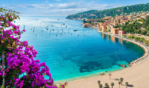 Fotobehang Nice French Riviera coast with medieval town Villefranche sur Mer, Nice region, France