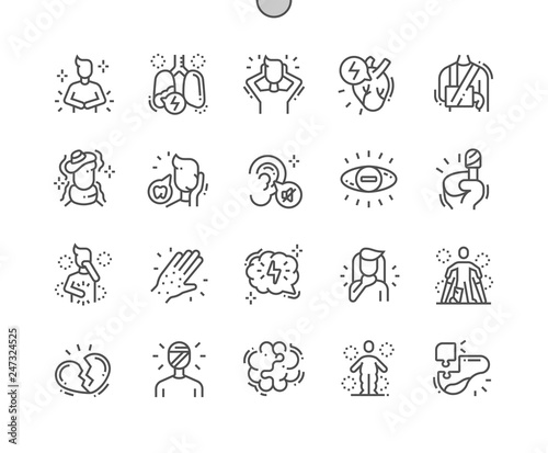 Fotografía  Health issues Well-crafted Pixel Perfect Vector Thin Line Icons 30 2x Grid for Web Graphics and Apps