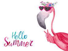 Watercolor Flamingo In Sunglas...