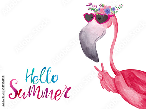 Photo Watercolor flamingo in sunglasses and floral wreath