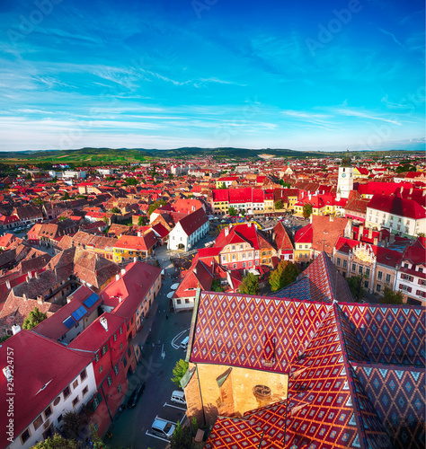 Staande foto Historisch geb. View from bell tower of St Mary Cathedral on the Old Town in Sibiu city.