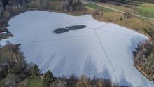 Gefrohrener Baggersee - Böhringer See - Luftbildaufnahme