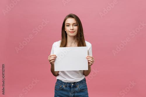 Close up portrait of positive laughing woman smiling and holding white big mocku Billede på lærred