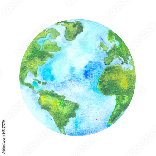 Planet Earth  hand painted watercolour illustration Fototapete