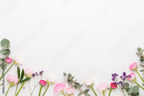 Fotografie, Obraz Beautiful colored ranunculus flowers on a white background