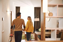 Temprorary Appartment. Couple Checking In Their Holiday Rental Apartment