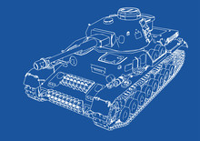 Drawing Of Old Military Equipment Tank On A Blue Background Vector