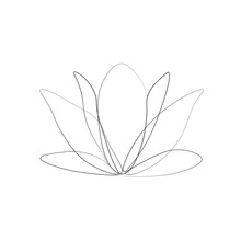 One Line Drawing Flower, Vecto...