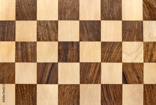 Dark wooden chessboard checkered background Canvas Print
