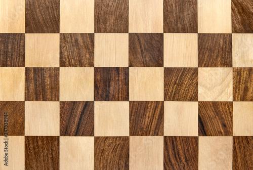 Dark wooden chessboard checkered background Fotobehang