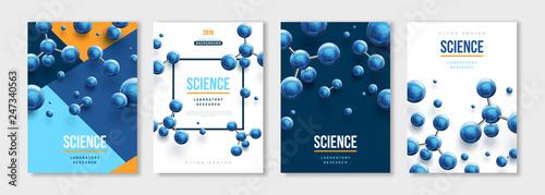 Obraz Banners set with blue molecules - fototapety do salonu