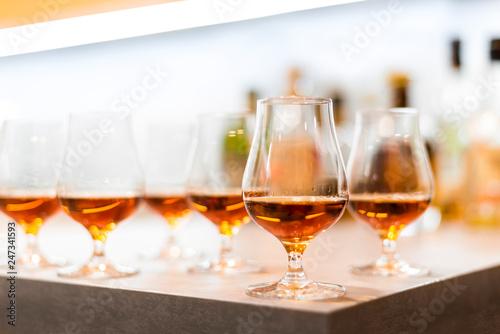 High quality Caribbean rum in modern glass for tasting