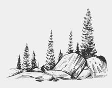 Wild Natural Landscape With Lake, Rocks, Trees. Hand Drawn Illustration Converted To Vector.