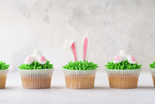 Homemade Easter Cupcakes In A Row. Funny Dessert For Children.