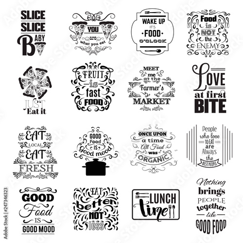 Poster Positive Typography Collection of quote typographical background about food with hand drawn oriental and decorative elements. Illustration of pizza. Unique lettering. Template for poster, business card and banner