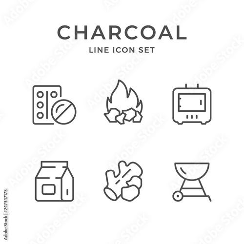Photo  Set line icons of charcoal