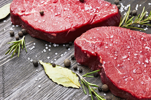 Fresh raw meat with spice