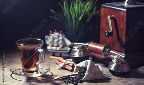 Recess Fitting Tea Brewing tea on a wooden table