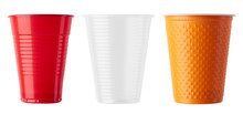 Set Of Plastic Cup On White
