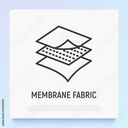 Photo Membrane fabric thin line icon. Modern vector illustration.