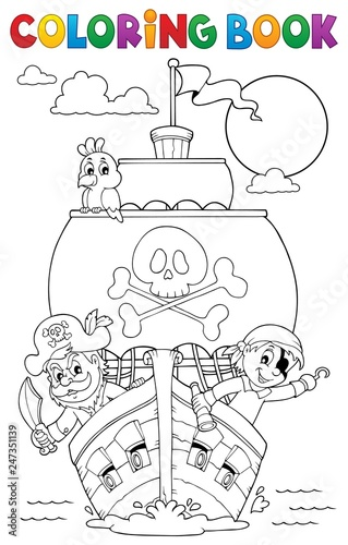 Montage in der Fensternische Für Kinder Coloring book vessel with pirates