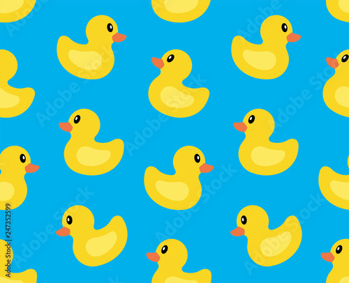 Obraz na plátně Seamless pattern with Yellow duck. isolated on blue background