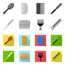 Vector Illustration Of Brush And Hair Sign. Collection Of Brush And Hairbrush Stock Symbol For Web.