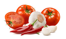 Tomato, Garlic And Chili Pepper Isolated On White Background