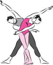 Couple Man And Woman Dancers Illustration