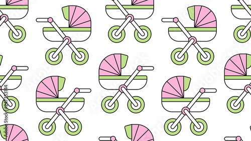 Photo  Seamless pattern with Baby carriage