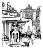 Kobieta o śniadanie na ulicy Lizbony - 247362968