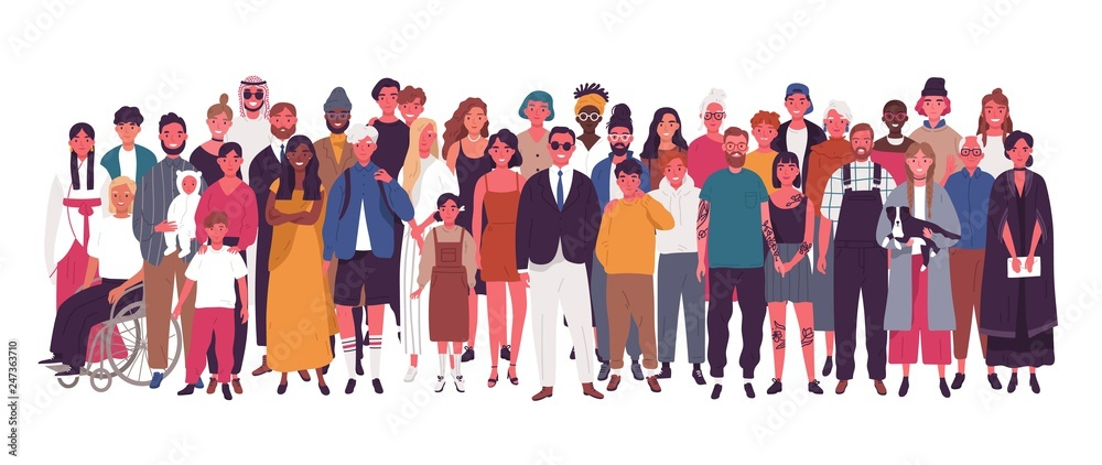 Fototapeta Diverse multiracial and multicultural group of people isolated on white background. Happy old and young men, women and children standing together. Social diversity. Flat cartoon vector illustration.