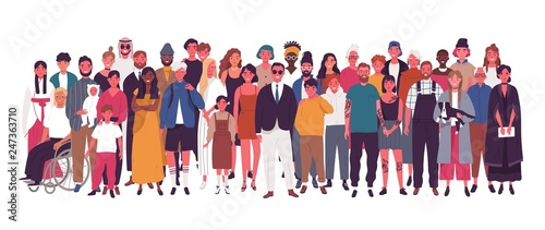 Fototapeta Diverse multiracial and multicultural group of people isolated on white background. Happy old and young men, women and children standing together. Social diversity. Flat cartoon vector illustration. obraz
