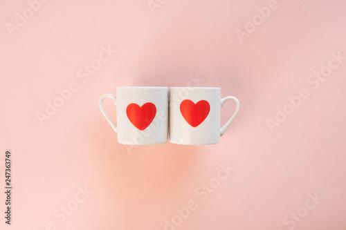 ハート コップ カップ カップル イメージ バレンタイン Canvas Print