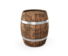 Wooden Barrel With Iron Hoops ...