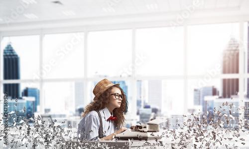 Fotografie, Obraz  Creative inspiration of young female writer.