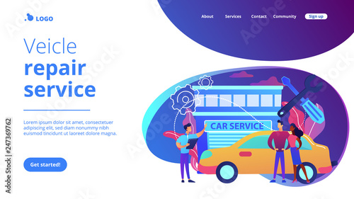Fototapeta Auto mechanic and business people at car service having their car repaired. Car service, automobile repair shop, vehicle repair service concept. Website vibrant violet landing web page template. obraz