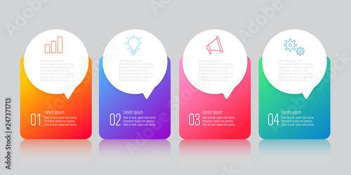 Photo  infographics design with speech bubble flat vector